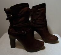 Ugg Leather High Heel Boots Olivia Java Brown Women's Size 11