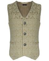 Pentagramme Mens Waistcoat Vest Cream Brocade Gothic Steampunk Wedding Vtg