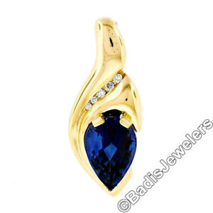 232737c0f Image is loading Modernist-14K-Yellow-Gold-Pear-Iolite-Diamond-Grooved-
