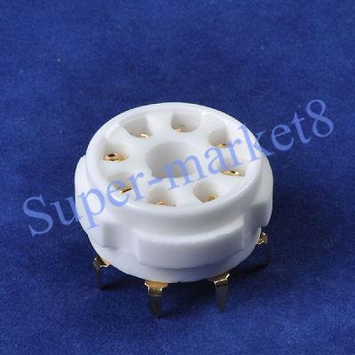 6pcs 8pin Octal Ceramic Gold Tube Socket 6SN7 KT66 KT88 EL34 5U4G 6CA7 K8A PCB