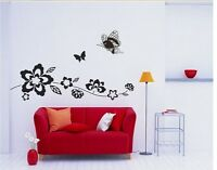 VINE BUTTERFLY FLOWERS Removable Wall Decal Vinyl Stickers Art Decor Home Mural