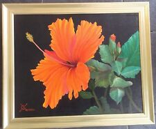 FRAMED OIL ON CANVAS PAINTING by G.NORTH A STILL LIFE STUDY OF A RED FLOWER