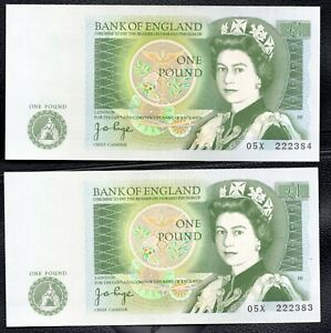 Bank Of England One Pound  Bank Note £1 signed by Page 05X 222383 & 4