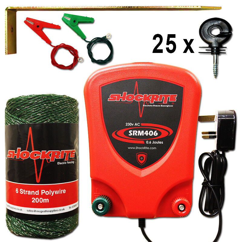 Mains Electric Fence Energiser  SRM406 0.6J Green Polywire 25 Ring Insulator Kit