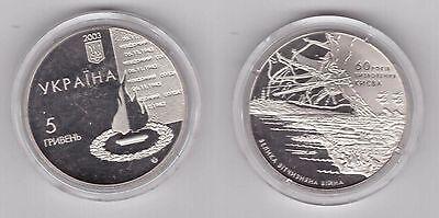 5 HRYVEN UNC COIN 2003 YEAR KM#187 60th ANNI KIEV LIBERATION UKRAINE