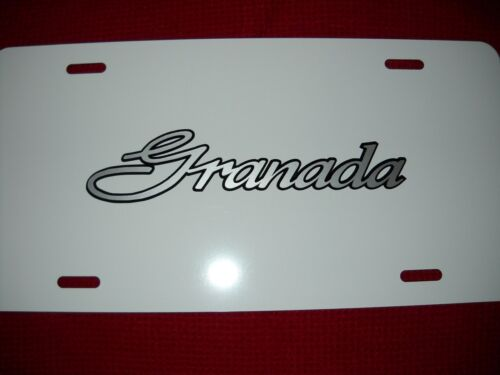 Ford Granada License Plate White Aluminum