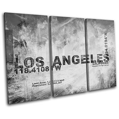 Los Angeles LA City Typography TREBLE CANVAS WALL ART Picture Print VA