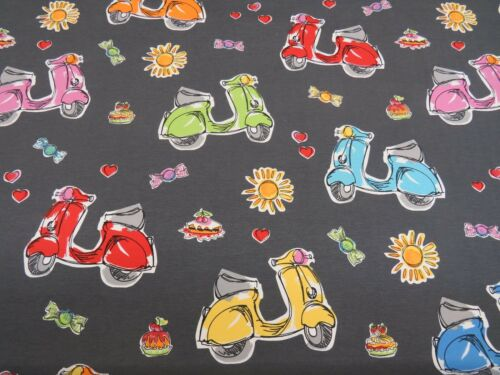 Grey Scooter Love Moped Bikes Sweets 100/% Cotton Curtain Fabric