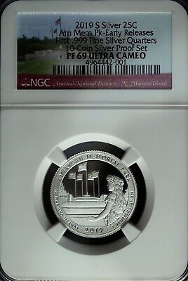 2019 S NGC Proof 69 UCAM .999 Fine Silver American Memorial Park ATB Quarter ☆☆