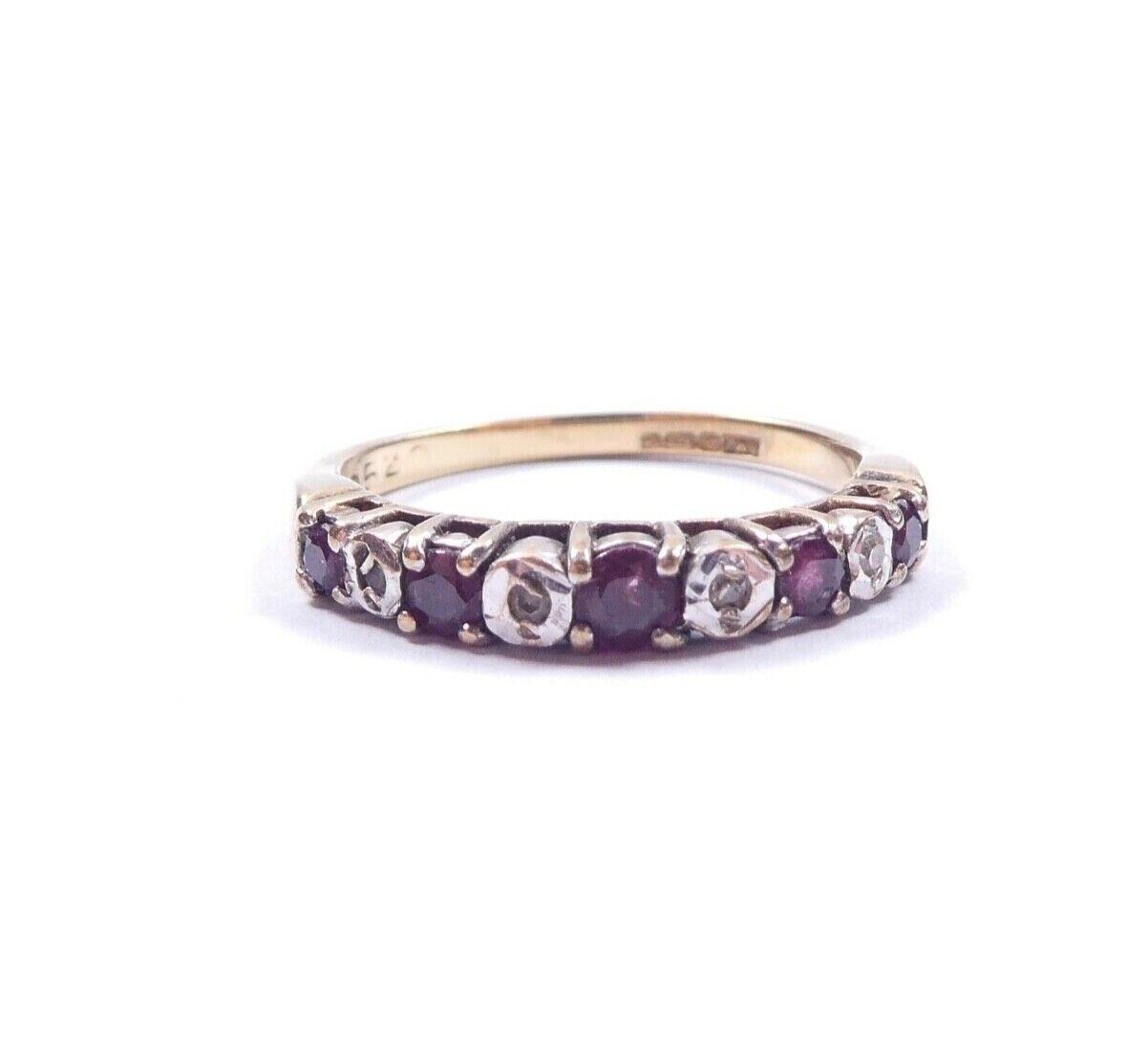 Eternity Ring Amethyst And Diamond 9 Carat Yellow gold 1.8g UK Size J 1 2