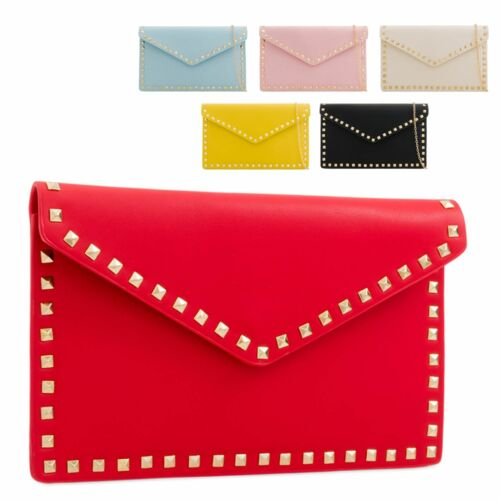 Ladies Faux Leather Studded Clutch Bag Envelope Evening Bag Handbag Purse KL2287