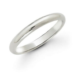 NEW-MENS-WOMENS-10K-SOLID-WHITE-GOLD-2-MM-COMFORT-FIT-PLAIN-WEDDING-BAND-RING