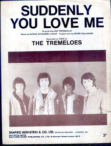 The-Tremeloes-Suddenly-You-Love-Me-original-UK-1960-039-s-Sheet-Music