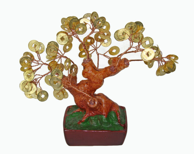 "Chinese Feng Shui Bonsai Gold Coin Money Tree 6"" Lucky Wealth Abundance"