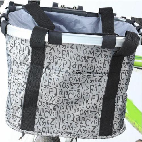 Cycling Bike Front Foldable Basket Bicycle Handlebar Bag Detachable Pet 4057