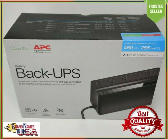 APC UPS 450VA 120V UPS Battery Backup Surge Protector, 6 Outlets, Back-UPS