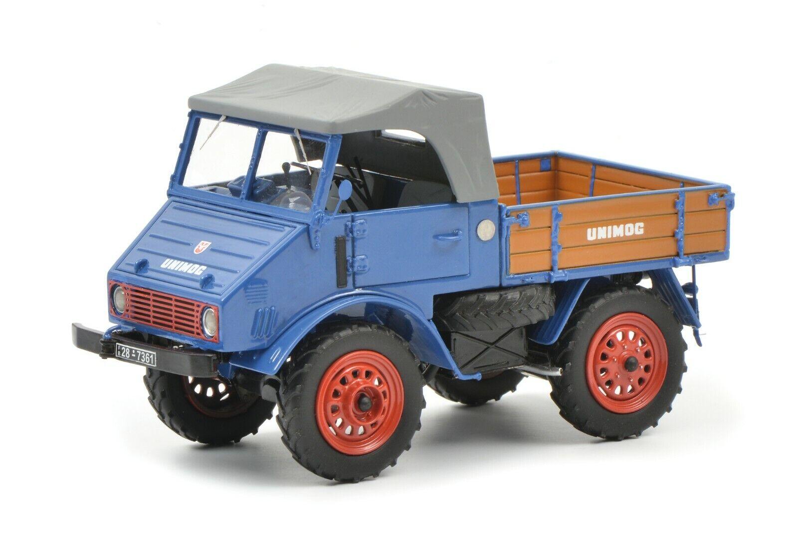 Schuco 1   32 Mercedes - Benz Unimog u401 con una cama de madera azul 45.900.300
