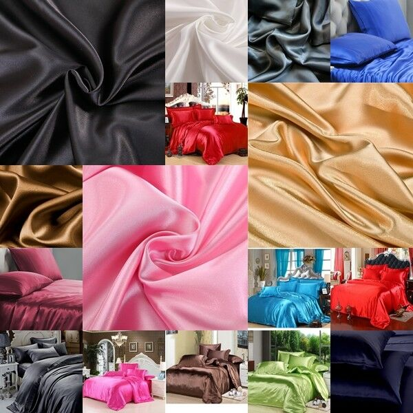 FREE SHIPPING 1200 TC 3pc Duvet Set US Queen Size Polyester Silk Solid Bedding's