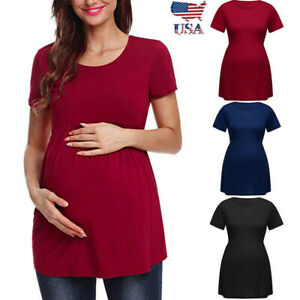 ed01a7500 US Women Pregnancy Solid Short Sleeve Tops Nusring Maternity Clothes ...