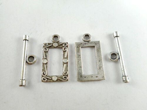 23x12.5mm Art Deco Rectangle Toggle Clasp Q24 Antique Copper Brass Silver Plated