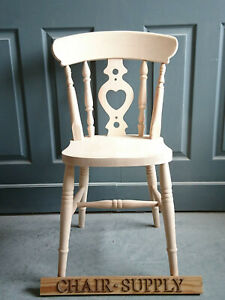 Brand New Heart Back Farmhouse Country Kitchen Dining Chair Raw Wood Ebay