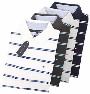 Tommy-Hilfiger-Men-039-s-Short-Sleeve-Custom-Fit-Striped-Polo-Shirt-0-Free-Ship