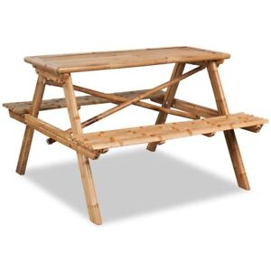 Beau Image Is Loading Picnic Table Bench Bamboo Garden Outdoor Benches Table