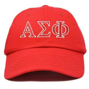 Alpha Sigma Phi Fraternity Greek Letters Ball Cap Embroidered Hat Black
