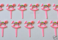 12 Pink Rocking Horse Cup Cake Picks Topper Baby Girl Shower Party Bakery Supply