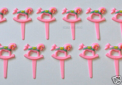 12 Pink Rocking Horse Cup Cake Food Picks Topper Baby Girl Shower Party Supply