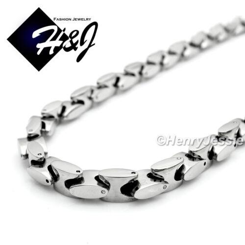 """24/""""MEN Stainless Steel 8mm Silver Interlock Bone Link Necklace Cross Pendant*B72"""
