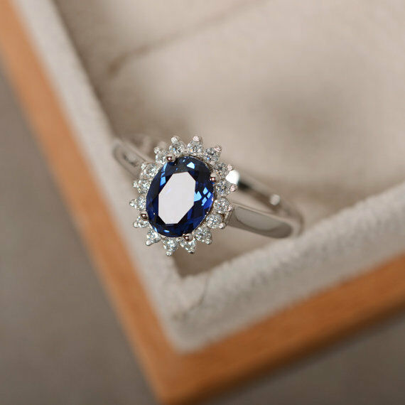 14K White gold Oval Sapphire Ring 1.80 Ct Real Diamond Engagement Rings Size 5 6