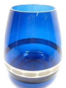 HAND BLOWN COBALT BLUE GLASS TEAR DROP VASE ETCHED APPLIED SILVER TONE STRIPE