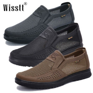 Men-039-s-Leather-Casual-Shoes-Breathable-Mesh-Antiskid-Loafers-Slip-on-Moccasins-US