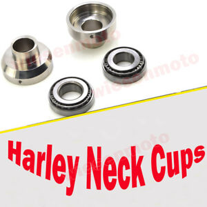 Details about 3 deg  Chrome Raked Fork Neck Cup Set For 1952-1978 Harley  Sportster Ironhead XL