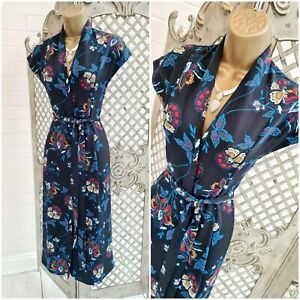 H&M  UK 8 Blue Oriental Floral Fit & Flare Kimono Belted Midi Dress