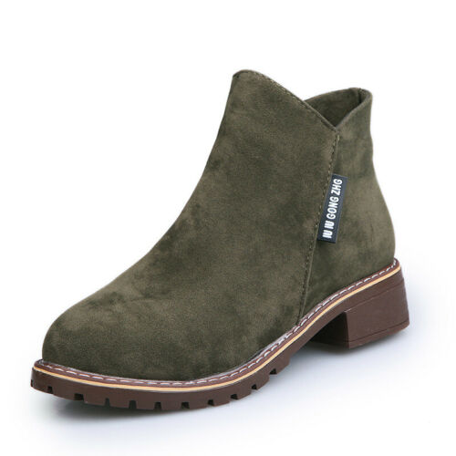 Womens Ladies Suede Chelsea Ankle Boots Casual Low Block Heel Slip On Shoes Size