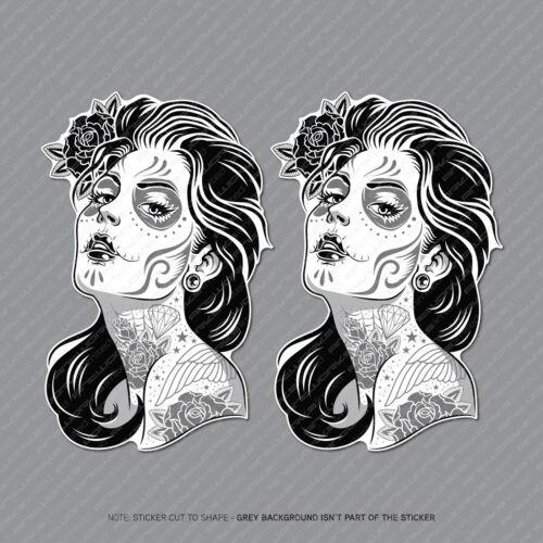 2 x Mexican Sugar Skull Girl Flower Vinyl Stickers Decals Car Van Laptop - 2932