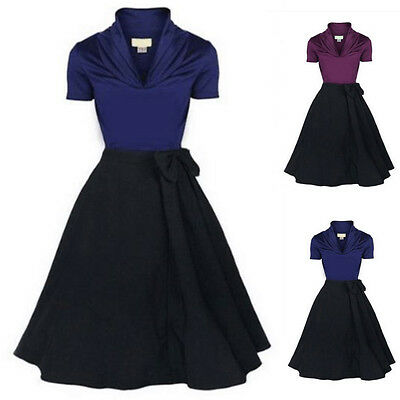 Womens Vintage 50s 60s Rockabilly Retro Pinup Swing Prom Party Housewife Dress