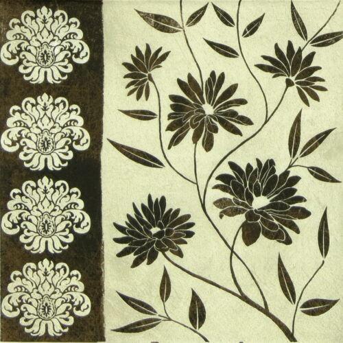 4x serviettes en papier pour découpage DECOPATCH FLEURIES DECOR Noir