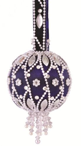 Silver Ball w//red navette The Cracker Box Christmas Ornament Kit Moonlit Pearls