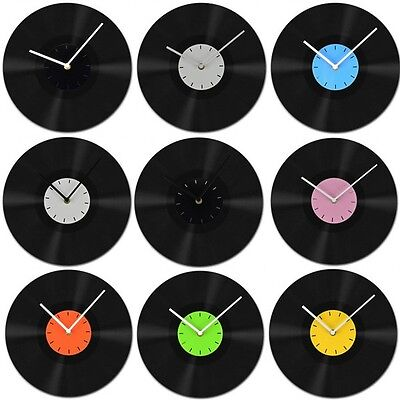 1 Pcs New Home Room Decor Recyle Vinyl Record Wall Clock Clocks Black Color