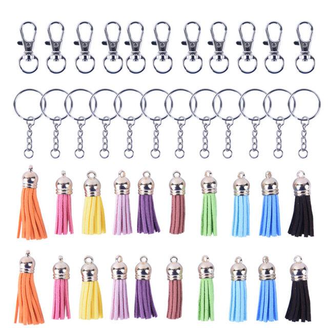 125Pcs/Set Key Chain Ring Pendants Tassel Bulk for DIY Crafts Jewelry MakiES