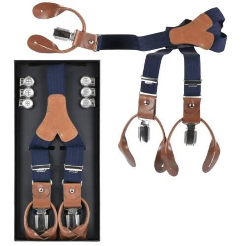 Lloyd Hosenträger marine blau Holländer 120cm 25mm Leder mit Knöpfen und Clips