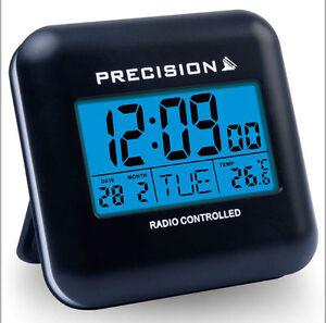 precision radio controlled blue led touch sensitive travel alarm clock prec00. Black Bedroom Furniture Sets. Home Design Ideas