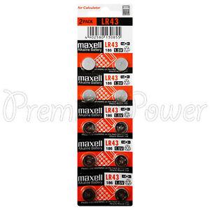 10-x-pilas-alcalinas-Maxell-LR43-186-1-5-V-1176-A-AG12-Calculadora-Pack-de-2