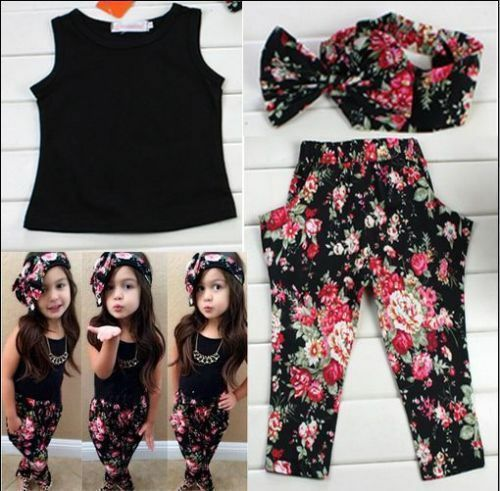 3pcs Bébé Nourrisson Filles Tenues Bandeau Floral Pantalon Enfants Vêtements Set t-shirt