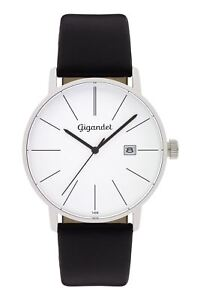Gigandet Herrenuhr Minimalism Uhr Armbanduhr Leder Silber Schwarz G42-001