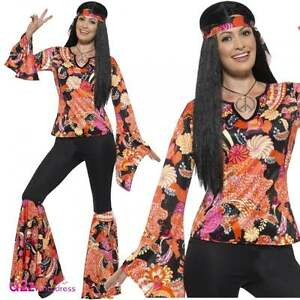 8ef8cd63109 Womens 60s 70s Willow The Hippie Adult Retro Hippy Festival Fancy ...
