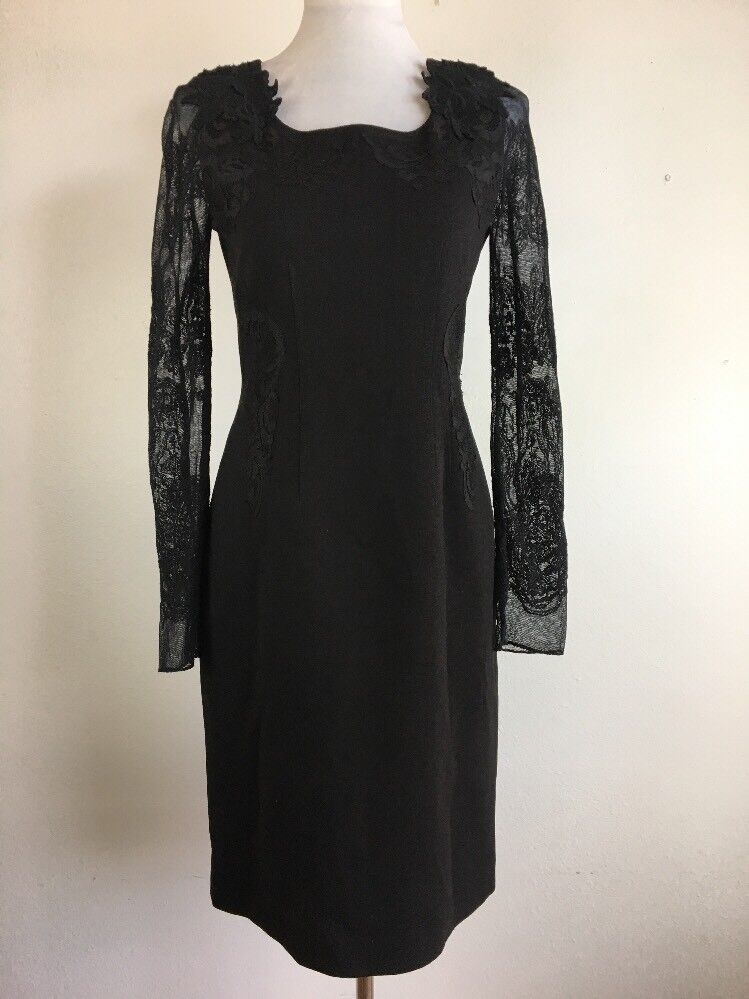 Elie Tahari damen Sheath Cocktail Dress 6 S schwarz Lace Long Sleeve Knee Length